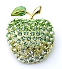 Sparkly green apple brooch pin