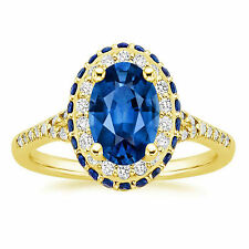 3.60 Ct Certified Oval Cut Blue Sapphire Ring 14K Yellow Gold Diamond Size N O