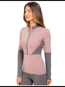 adidas by Stella McCartney Women's L Striped Stretchy Top Pink Gray Long Sleeves