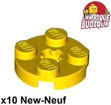 Lego - 10x Plate Round plaque ronde axle hole 2x2 jaune/yellow 4032 NEUF