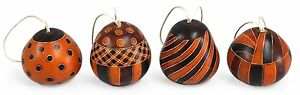 #1180 Four Natural Color Carved Gourd Ornament Peru Artisan Christmas Assorted