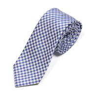 CHARLES TYRWHITT Blue Gray Gingham Plaid Men's Silk Skinny Neck Tie