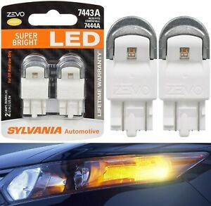 Sylvania ZEVO LED Light 7443 Amber Orange Two Bulbs Front Turn Signal Lamp Fit