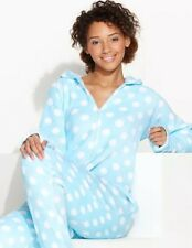 NEW $58 Jenni Womens Blue Polka Dot Supersoft Hooded Footed Pajama L LAST ONE