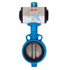 """DN80 3"""" Double Acting Pneumatic Butterfly Valve Wafer Type EPDM Sealing"""