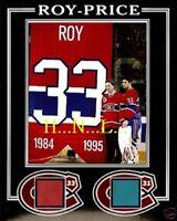 PATRICK ROY & CAREY PRICE BANNER RAISING 8x10 PHOTO MONTREAL FORUM RED-BLUE SEAT