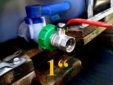 """Raccord S60x6 avec robinet 1"""" laiton chromé pour cuve 1000L eau pluie IBC GRV"""
