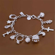 Shining Sterling Silver Plated Fashion Women 13 Charm pendant Beautiful Bracelet