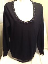 Beautiful Burberry Silk & Wool Blend Black Sweater Trimmed With Beading Sz L