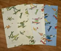 Lot/3 QUENTIN BLAKE Zagazoo SKATEBOARDERS 23x15 FABRIC SAMPLE SWATCH 100% Cotton