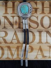 Sterling Silver & Turquoise Bolo Tie - Jonathan Nez - Navajo - Native American