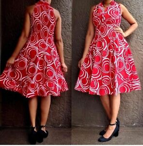 Woman's Red and White Sleeveless Dress with Matching Head Wrap
