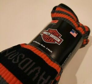 Harley Davidson Mens All weather Riding Crew Midcalf Socks Size: L 9-13 NWT IRR