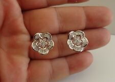 925 STERLING SILVER STUD EARRING FLOWER DESIGN W/ 4.50 ct ACCENT/ 16MM BY 16MM