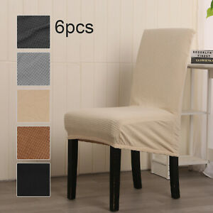 6Pcs Stretch Dining Chair Seat Covers Removable Protective Slipcovers Home Decor
