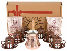 Turkish Greek Arabic Coffee Gift Set Copper Pot Cups Saucers Lids & Coffee for 6