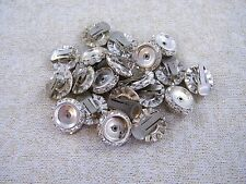 10 PAIRS VINTAGE SILVERTONE / RHINESTONE ~ CLIP EARRING FINDINGS, JEWELRY MAKING