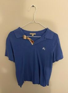 Burberry Polo Short Sleeve Shirt Men's Size Medium Blue Brit Very Good