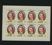 George H W Bush USA 41st President Honored Mint NH 1989 Full Sheet Liberia #1113