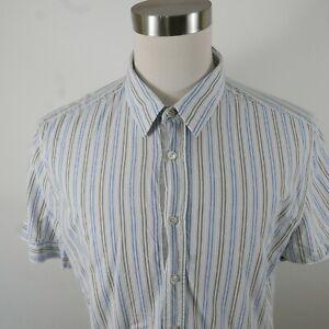Hugo Boss Orange Label Mens SS Button Up Blue Gray Striped Dress Shirt Size XXL