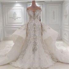 Lace luxury Wedding Dresses Crystal Mermaid White/Ivory Bridal Gowns Custom Size
