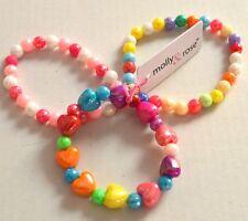NEW Childrens Pack of 3 plastic heart bead bracelets jewellery fashion