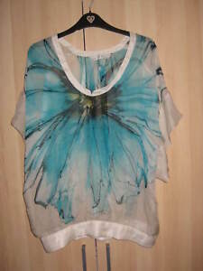 ZARA PURE SILK GREEN TURQUOISE SHEER BLOUSE BATWING CAPE TOP S SMALL 8 36 4
