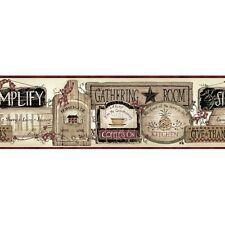 Folk Art Kitchen Inspirational Signs Easy Walls Wallpaper Border SM20061B
