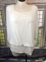 Joseph A 3X flutter sleeve Blouse Flowing overlay built in tank white cut outs