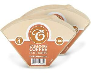 Coffee Filter Papers Size 4 Unbleached Brown Replacement Cones