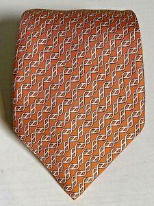 "Vintage Hermes 5467 FA Mens 61"" Long Silk Tie HELIX GEOMETRIC Pattern Orange D28"