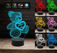 Lampada Led SAN VALENTINO 7 colori selezionabili – REGALO NASCITA ORSETTO 3D con