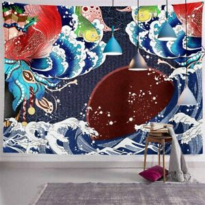 Japanese Style Printed Wall Hanging Tapestry Bedspread Decor Blanket Polyester