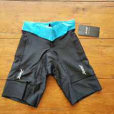 "ZOOT Women's XS Tri Shorts Performance 8"" Triathlon Black Blue X-SMALL Cycling"