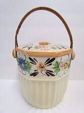 VINTAGE OLD JAPAN COOKIE JAR OR BISCUIT JAR WITH WICKER HANDLE