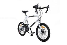 """20"""" Bike Cycling 21 Speed SHIMANO Double Disc Brake Carbon Steel Frame White US"""