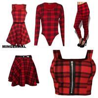 Ladies' Red Tartan Sleeveless belted Dress/Women swing skater dress/legging 8-26