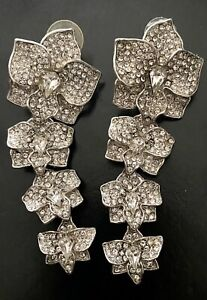 Margaret Rowe Statement  Chandelier Diamontage Rhinestone Drop Earrings 3 1/2""