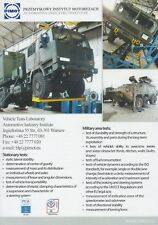 PIMOT VEHICLE TEST LABORATORY 2017 INCL. JELCZ POLISH MILITARY BROCHURE PROSPEKT