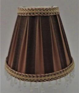 "Clip-On Lamp Shade, Dark & Light Brown Dangles, 3 1/2"" x 6 1/4"" x 5 1/4"" H"