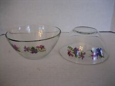 Vintage Wild Violets Just for You By J. Walsh for Avon Glass Bowl Set of 2 New