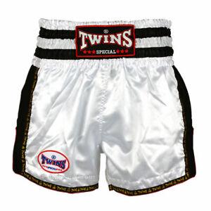 Twins TWS-928 Plain Retro Muay Thai Shorts White Black Kickboxing Striking K1
