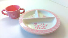 Pretty in Pink Divided Plate & Mug 2 Handle Cup Child's Set Poodle in Box