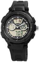 4You Herrenuhr Schwarz Analog Digital Datum Alarm Licht Armbanduhr D-250009000