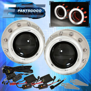 "6000K Hid 2.5"" Round Retrofit Projector Headlights Dual Halo Ring Red White"