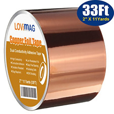 Copper Foil Tape 2Inch X 33 FT W Conductive Adhesive For Guitar & EMI Shielding