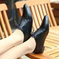 Bohemia Womans British Flats Oxford Ladies Pointed Toe Lace Up Causal Shoes New