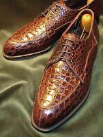 Chaussures à lacets en cuir véritable à imprimé crocodile pour hommes faits à la