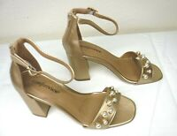 New Comfortview Strap Sandal Size 10.5 Gold w Pearl Accents High Block Heel