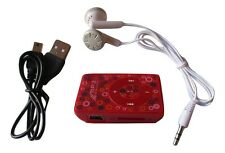 Mini clip lecteur baladeur MP3 rouge motifs + câble USB + écouteurs + carte 8 Go